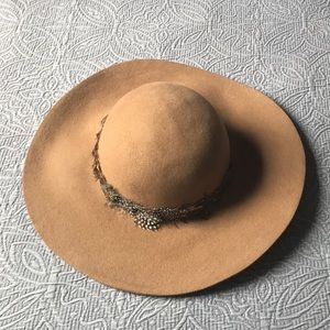 Wool Boho Hat with Feather Band